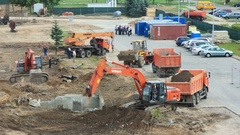 Excavation works at the construction site. Planning. Excavation. 4k timelapse Stock Footage