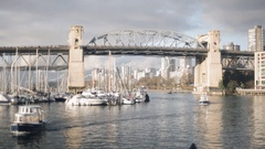 Small Ferry at Granville Island - Winter Stock Footage