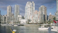 Downtown Buildings across Granville Island - Winter Stock Footage