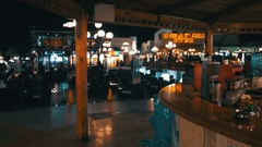 Bar on Soho Square at Night in Sharm El Sheikh, Egypt Stock Footage