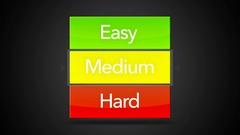 Easy Medium Hard Looping Seamless Video Game Screen - Arrow on Medium Stock Footage