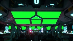 Space ship futuristic interior. Cabine view. Green screen footage. Stock Footage