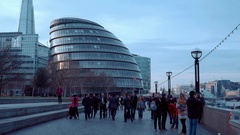 London City Hall and Queens Walk at the banks of River Thames Stock Footage