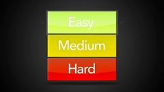 Easy Medium Hard Looping Seamless Video Game Screen-Arrow on Easy Stock Footage