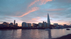 The skyline of More London Riverside and Shard building Stock Footage