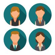 Set icon male and female faces business avatars. Flat illustration Stock Illustration