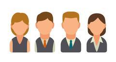 Set icon male and female faces business avatars. Flat illustration Stock Illustration