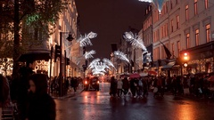 Street decoration of London New Bond street at Christmas Time Stock Footage