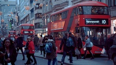 Crowd of shopping people at Oxford Street in London - a busy place at Christmas Stock Footage