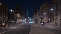 London Whitehall by night - street view Stock Footage