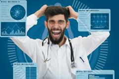Closeup portrait of rude frustrated upset overwhelmed, angry young doctor Stock Photos