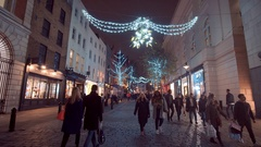 Amazing Christmas decoration in the streets around Covent Garden London Stock Footage
