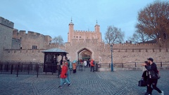 Tourists visiting the Tower of London on a sunny afternoon Stock Footage