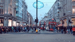 Oxford street in London - a busy place at Christmas street - main shopping mile Stock Footage