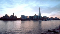 The skyline of London Southwark with Shard Tower Stock Footage