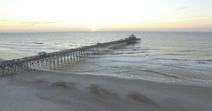 Aerial of Folly Beach Fishing Pier at Sunrise Stock Footage