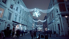 Christmas decoration at Covent Garden by night Stock Footage