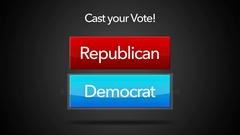 Seamlessly looping Cast your Vote Election Button - Democrat Selected Stock Footage