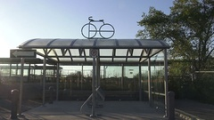 Bike shelter/parking under a canopy in the city Stock Footage