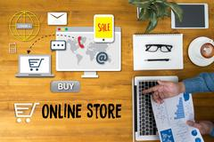 Online Store Add to Cart Online  Order Store Buy shop  Online payment Shopp.. Stock Photos