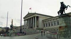 VIENNA, AUSTRIA Steadicam shot of Austrian Parliament Building Stock Footage