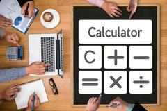 Calculation Business Investment Accounting Banking Budget Calculator ,  pre.. Stock Photos