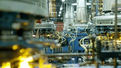 Machines at the glass-blowing plant Stock Footage