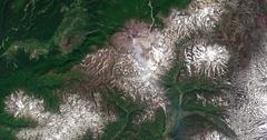 Aerial time lapse of snow melt on Kamchatka Peninsula tundra, Russia  Stock Footage