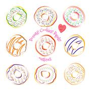 Donut line drawing vector set isolated on white background Stock Illustration
