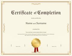Certificate of completion template in vintage theme Piirros