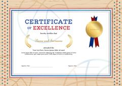 Certificate of excellence template in sport theme for basketball event with.. Stock Illustration