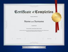 Certificate of completion template with blue border Piirros