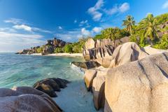 Beautiful Anse Source d'Argent tropical beach, La Digue island, Seychelles Stock Photos