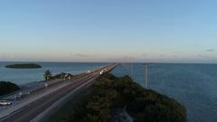 Aerial view of seven mile bridge in florida keys. Stock Footage