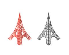 Eiffel tower icons in isometric style, vector Stock Illustration