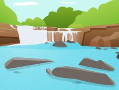 Vector Waterfall background, Tat Ton Waterfall, Thailand Stock Illustration