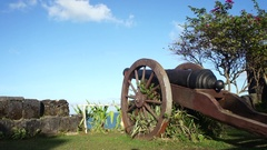The old Spanish cannon in ancient fortress. Philippines. Palawan. Stock Footage
