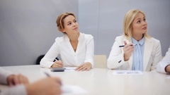 Business team with scheme at presentation Stock Footage
