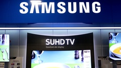 Motion of dispaly Samsung 4k tv inside Best buy store on boxing day sale Stock Footage