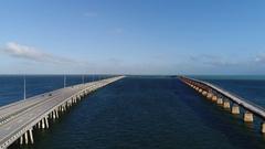 Aerial view of old Bahia Honda bridge in florida keys Stock Footage
