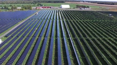 Aerial solar field side view zoom out ken burns effect 4k Stock Footage