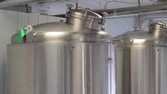 Stainless steel brewery tanks slider view Stock Footage