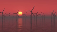 4k Windmill Turbines Clean in sea at sunrise,Green Wind Energy,new power. Arkistovideo