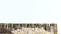 Bosnia and Herzegovina flag with stack of money coins and piles of wheat seeds Stock Footage