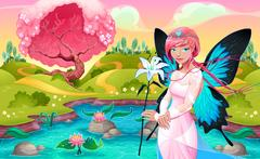 Portrait of a young fairy in a fantasy landscape Stock Illustration