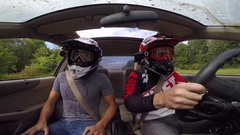 Rally car jump inside view dashcam Stock Footage