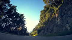 POV vehicle drive car pristine forest mountain road green trees flashing sun sky Stock Footage
