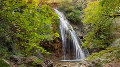 Waterfall and rill flow. Stock Footage