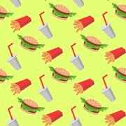 Fast food seamless pattern with cheeseburgers vegetables, french fries, soda Stock Illustration