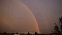Double Rainbow on background of blue sky Stock Footage